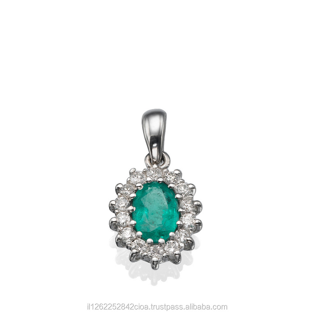 14K White Gold Pendant With Natural Emerald Gemstone And Diamonds Total 0.28 Carat