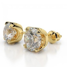 Simple Daily Wear Real Diamond Cluster Earrings in Yellow Gold