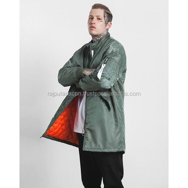 thick warm ma-1 men long jacket fashion hip hop streetwear side
