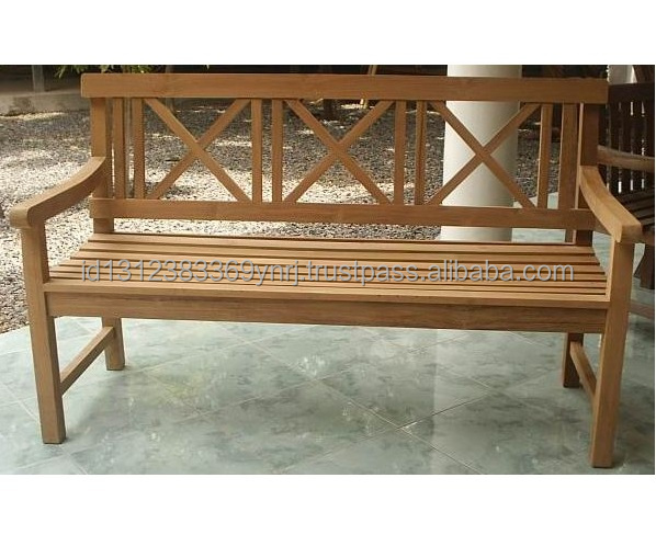 high quality teak cross bench for outdoor usage made in Indonesia