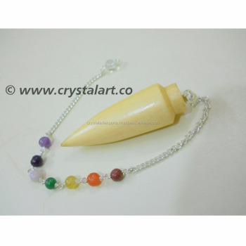Wholesale Gemstone Rose wood Bullet shape Chakra Chain Pendulum