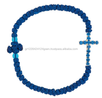 Orthodox Wax Fabric Thread Prayer Knot Rope Bracelet with Metal Rhinestone Stass Cross