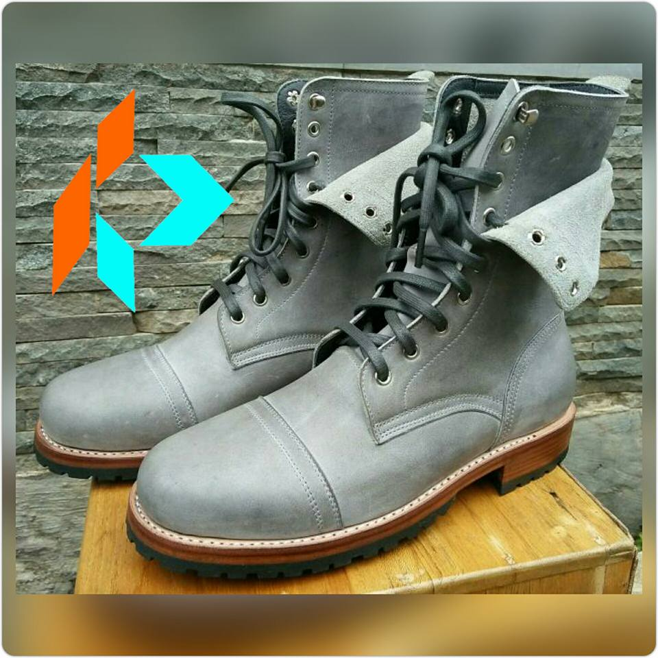 Best Quality Handmade Grey Derby Captoe Double Layer Men Genuine Leather Boots Style MY-90715