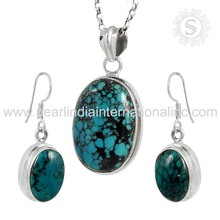 Sky turquoise gemstone silver jewelry set exporters wholesale jewelry 925 sterling silver wedding set