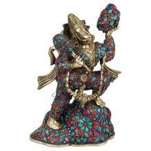 Indian Lord Hanuman Idol Carrying Mountain Exclusive Inlay Work Murti Statue 12""