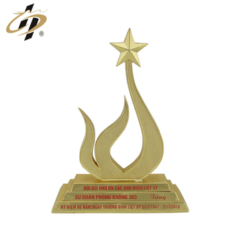 Promotional zinc alloy custom gold metal souvenir trophy with enamel logo