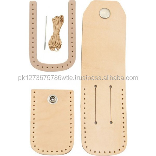 "Leather Sheath kit for 5"" folding knife made of veg tanned cow leather"