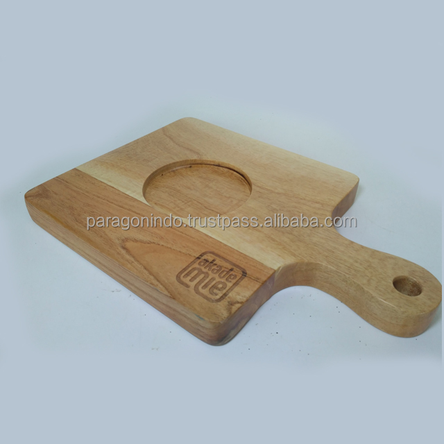 Wooden Tray with Custom Logo for Serving Food and Bowl Holder