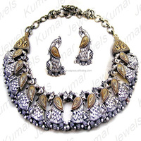 2017 Party Wear Tribal Fashion Ethnic Costume Party Wear German Silver Oxidized Gold Plated Peacock Design Necklace Set