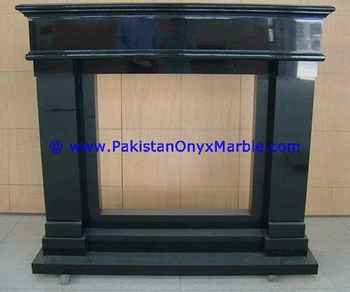 DECORATIVE MARBLE FIREPLACES BLACK AND GOLD , JET BLACK MARBLE