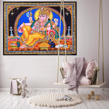 Indian Latest Poster Throw Cotton Wall Decor Lord Ganesha Home Decor Poster Meditation Wall Hanging Tapestry 45X30 Inch