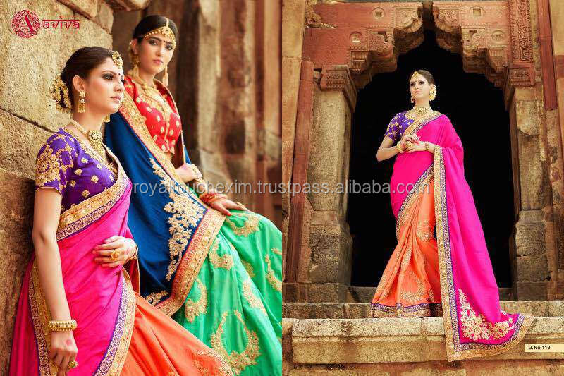 party wear saree with designer blouse material designs