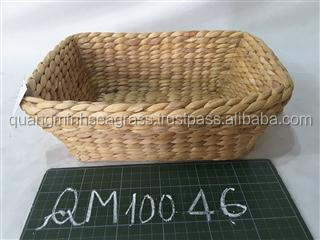 Rectangular water hyacinth fruit tray high quality rattan bread tray long time usage willow kitchen spices tray
