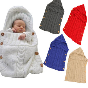 STOCK Winter Newest Crochet Button Knitted Baby Sleeping Bag