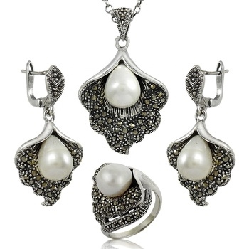 Customer satisfaction gemstone silver jewelry set 925 sterling silver pearl cz wholesale jewellery set exporter