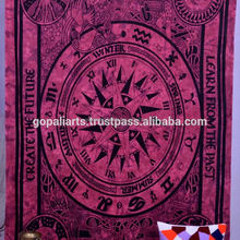 Indian Cycle Of The age Print Maroon Tapestry Throw Bedspread Wall Hanging Ethnic Wall Decor Bohemian Twin Size Tapestry