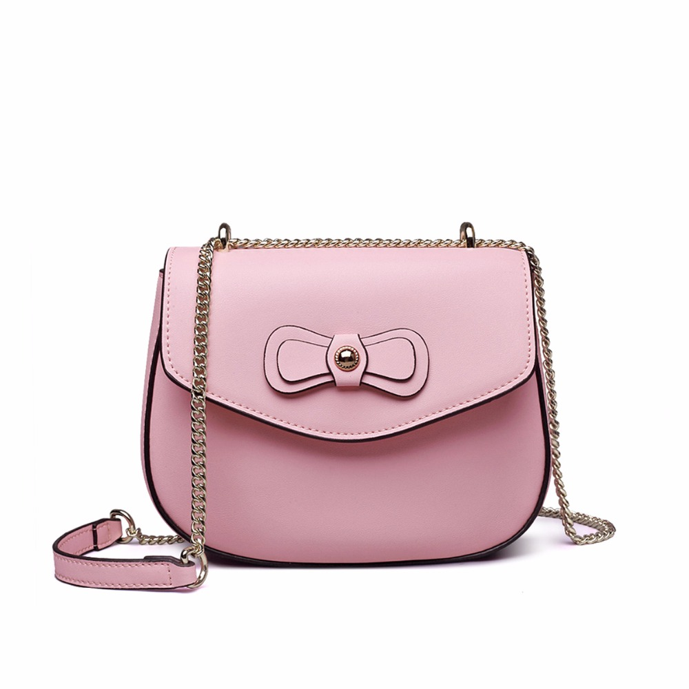 High Quality Genuine Leather women ribbon handbag Solid pink