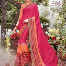 Party Wear Designer satin weightless with gracefull border printed Saree With Blouse Material