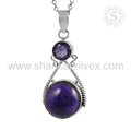 Beautiful amethyst gemstone pendant 925 sterling silver pendants jewelry exporters