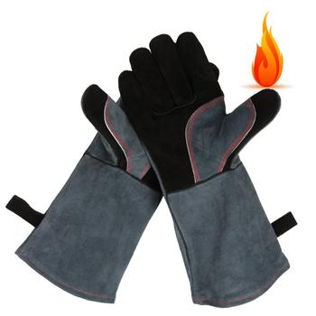 Heat Wear Resistant Leather Welders Mig Fireplace Stove Gardening 16in BBQ Welding Gloves