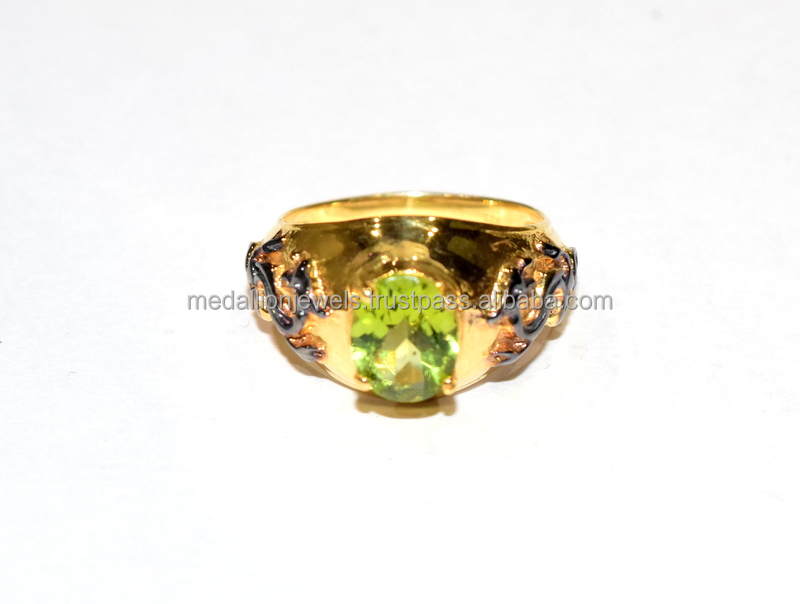 925 Solid Sterling Silver Gemstone Peridot Dragon Black & Gold Ring
