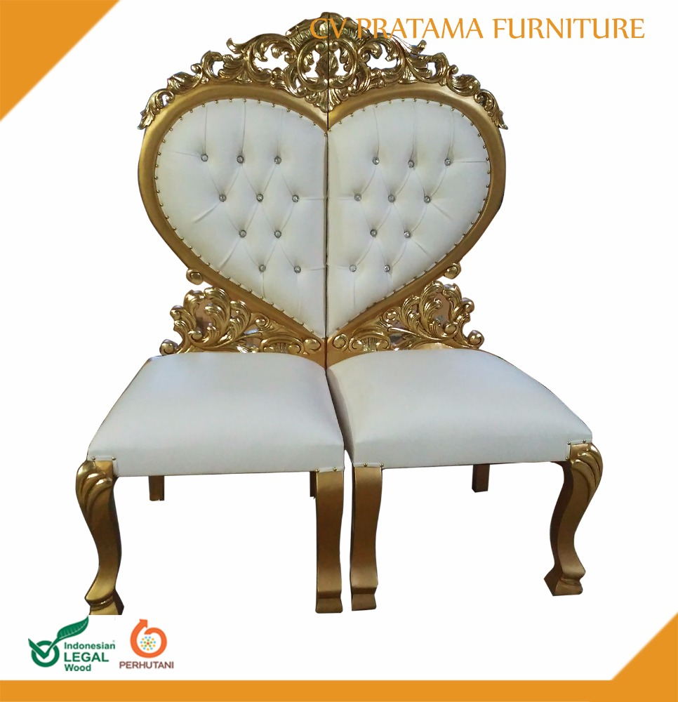 2017 heart shape red seat wooden mahogany chairwith little sweet carving gold color