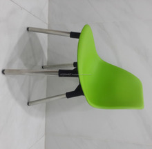 Super Cheap High quality Dining Tulip Chair Plastic Chair With Stainless Steel Iron Metal