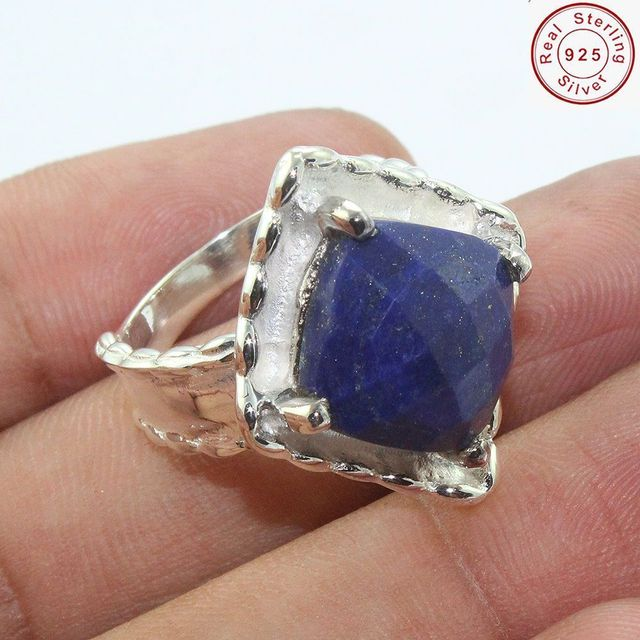 High quality blue sapphire gemstone ring offer jewelry Fashion online silver ring