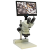 Trinocular Stereo Microscope With HD Monitor, SD Card for Image/Video Files, Max 93x Magnification, built-in Ring Light