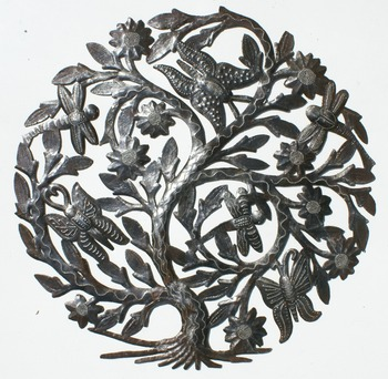 Tree Of Life with Flowers, Butterflies and Dragonflies Metal Artwork For Wall Haitian Steel Drum Metal Art 60cm