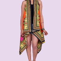 Orange Dashiki African Shawl Kimono Indian