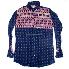 Black Checked Printed White New Half Cotton Top Men's Dress Button Long Sleeve Shirt