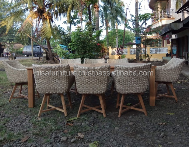 Teak Wood Synthetic Rattan Wicker Raw Material Chair Dining Table Set garden Outdoor Furniture for Patios