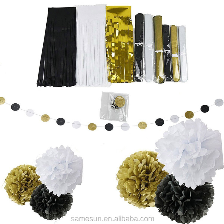 Black White Gold Tissue Paper Pom Pom Paper Tassel Garland Paper Circle Garland for Party Decoration