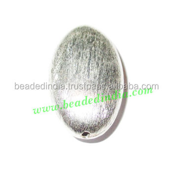 Silver Plated Brushed Beads, size: 25x15x8mm, weight: 3.69 grams. BMSPBR009