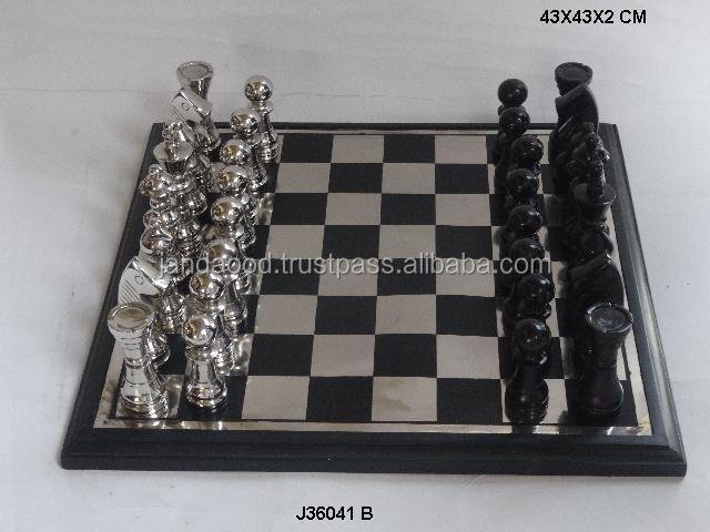 metal Chess  with metal chess men with metal and wooden base