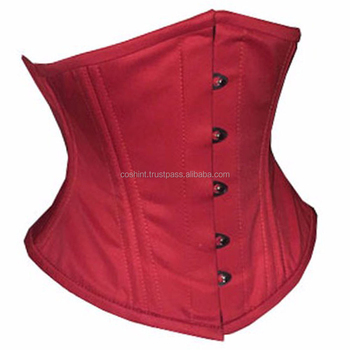Red Cotton Waspie Waist Training Corsets With Double Steelboned Supplier