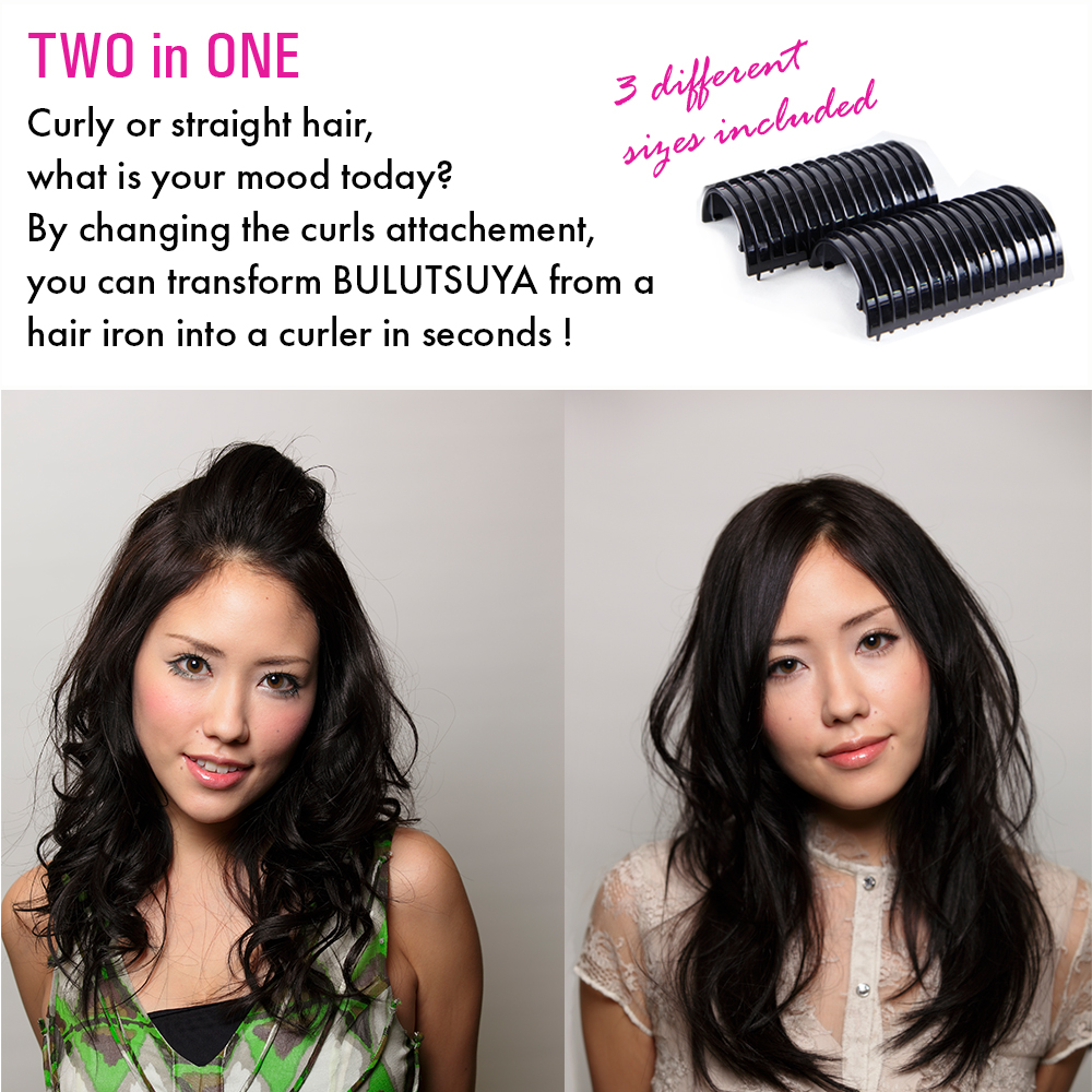 BULLUTSUYA, Hair Iron & Curler made in Japan. Tourmaline, keratin and ceramic coated for a glossy finishing