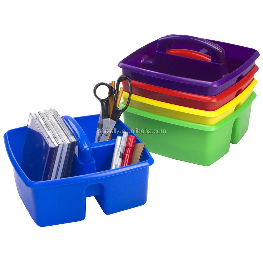 Large Rectagular Colorful Divided Plastic Tote Caddies Office Supplies Desk Organizer Storage Utility Caddy with 2 Compartments