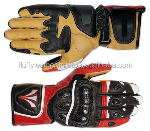 Soft Touch Motorcycle Motorbike Leather Gloves Armoured Racing Touring Red--MG-178