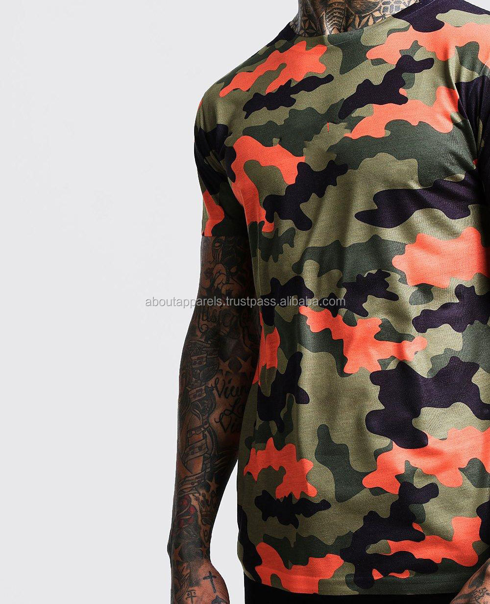 Stripes Short Sleeve T-Shirt 2018 Summer Men's Casual Tops Tees Hip Hop Fashion Male ,Camo Printed T Shirt