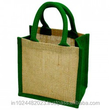 Custom rope handle jute tote bag with metal eyelet