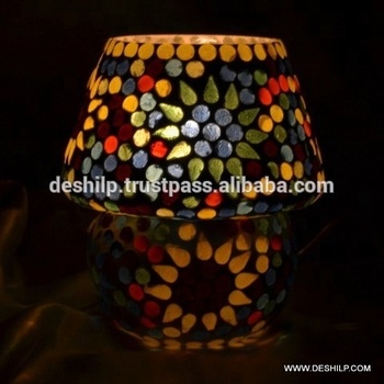 GLASS MOSAIC SMALL TABLE LAMP , GLASS DECORATIVE TABLE LAMPS