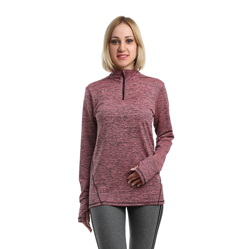 Quarter zipper Sportive shirt Women Gymwear