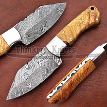 CUSTOM HANDMADE Damascus steel hunting knife / Skinner knife with olive wood