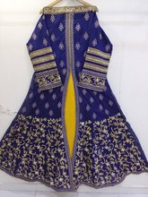 Navy Blue Indian Designer Heavy Embroidery Work Semi Stiched Gown
