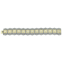 Pave Diamond 925 Silver Moonstone 14K Yellow Gold Vintage Style Link Chain Bracelet Jewelry Supplier