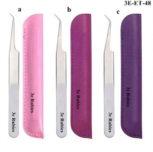 1 Piece Eyelash Extension Tweezers with pouch / Attractive Eyelash Tweezers with single tweezer pouch/satin finish