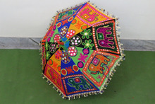 gift Elephant embroidery new year gift unique parasol ,decorative cotton ,hand stitched mirror work sun umbrella,