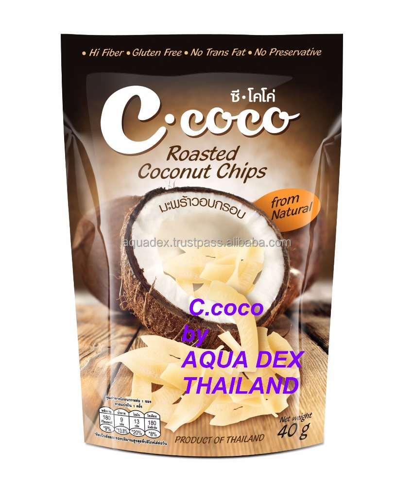 Made in Thailand Roasted BAKED natural Coconut chips